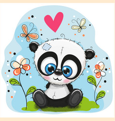 Cute panda with flowers and butterflies vector