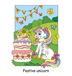 cute unicorn celebrating a birthday colorful vector image