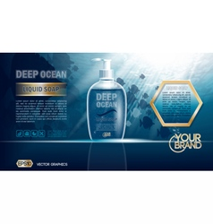 Digital blue deep ocean liquid soap mockup vector
