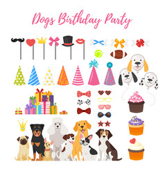 Dog party and birthday elements vector
