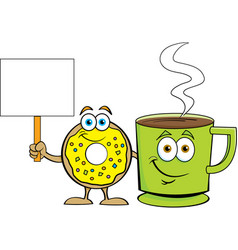 donut standing near a cup coffee with a sign vector image