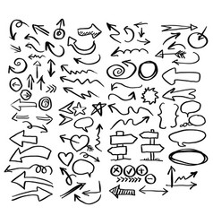 doodle arrow and signs set sketch vector image