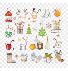 doodle christmas element sketch vector image