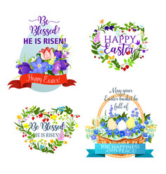 Easter icons and paschal symbols vector