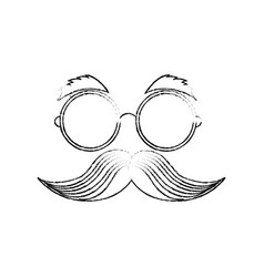 Eye glasses with mustache joke mask vector