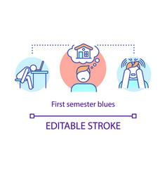 First semester blues concept icon vector