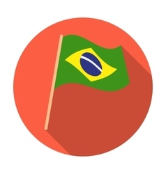 Flag of Brazil icon in flat style isolated on vector image