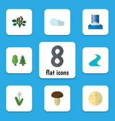 Flat icon natural set of overcast berry cascade vector