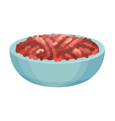 Forcemeat in bowl ingredient for lasagna vector