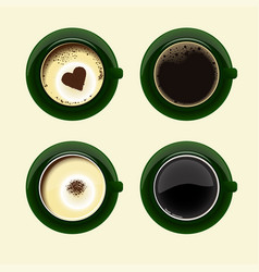 four cups of coffee with americano latte espresso vector image
