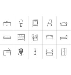 furniture hand drawn sketch icon set vector image