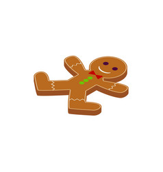 gingerbread man cookie isometric object vector image