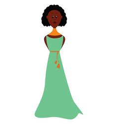 girl in green dress on white background vector image