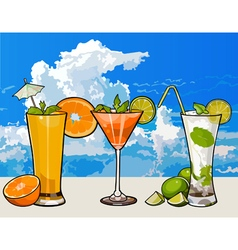 glasses with different cocktails with fruit vector image