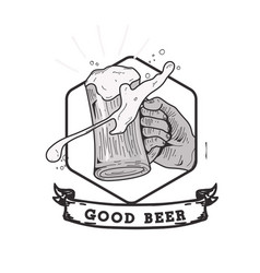 Good beer ribbon hand holding beer background vect vector