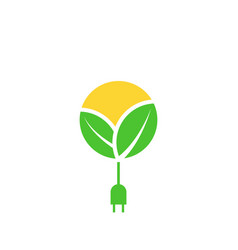 Green renewable energy logo leafs sun with cable vector