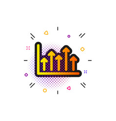 Growth chart icon upper arrows sign vector