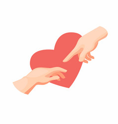 Hand to with love creation adam icon vector