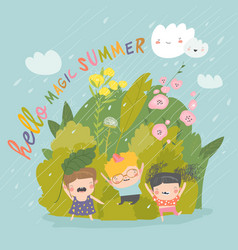 Happy children enjoying on rain happy summer vector