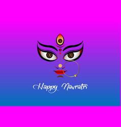Happy navratri goddess face in durga puja vector