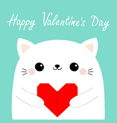 Happy valentines day white cat kitten head face vector