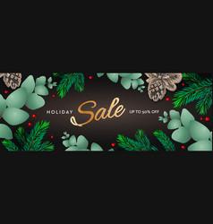Holiday sale horizontal poster christmas template vector