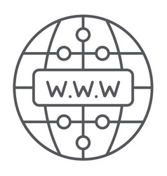 Internet thin line icon website and globe vector