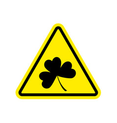 Irishman warning clover on yellow triangle road vector