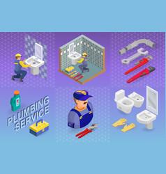 isometric interior repairs concept the plumber vector image