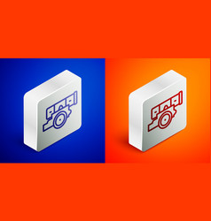 Isometric line cannon icon isolated on blue and vector