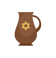 Jewish jug icon flat style vector