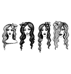 Long-haired girls with flowers vector image