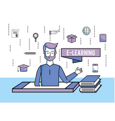Man with education books and smartphone technology vector