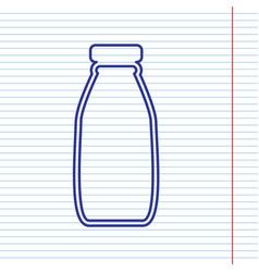 Milk bottle sign navy line icon on vector