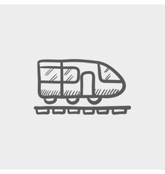 Modern high speed train sketch icon vector image