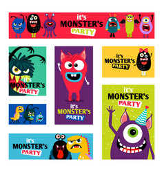 Monsters banners set or monster labels for kids vector