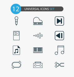 Multimedia icons set with shuffle piano previous vector