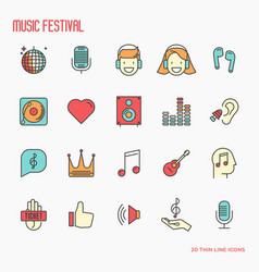 Music festival thin line icons icons set vector