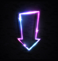 neon glowing arrow pointer on black brick wall vector image