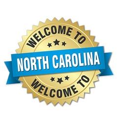 North Carolina 3d gold badge with blue ribbon vector image