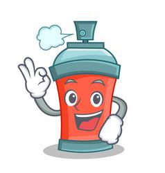 Okay aerosol spray can character cartoon vector