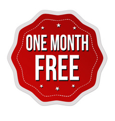 one month free label or sticker vector image