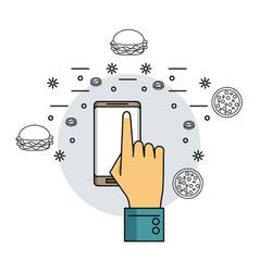 Orders online with smartphone vector