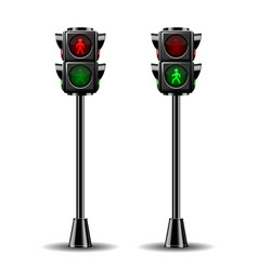 Pedestrian traffic lights red and green isolated vector