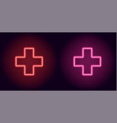 pink neon medical cross vector image