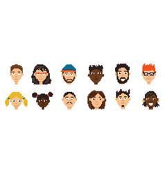 pixel avatars hero character minimalistic game vector image