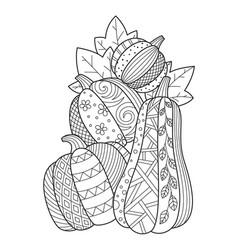 pumpkin doodle coloring book page antistress vector image