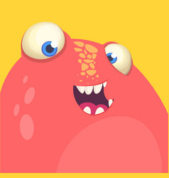 Red monster face avatar vector