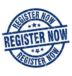 register now blue round grunge stamp vector image