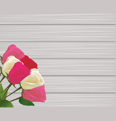 Roses bouquet on wooden background vector